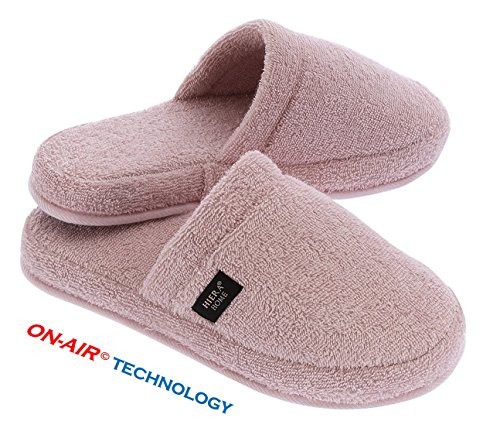 Troy Foot Spa - turkishtowelmarket Hiera Home Luxurious On-Air Spa Slippers, 100% Turkish Cotton, Small/Medium, Pink
