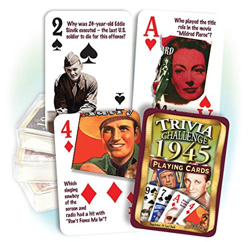 Fun 75th Birthday Gifts: 1945 Trivia Playing Cards
