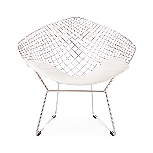 (Mid Century Modern Bertoia Style Chrome Diamond Accent Chair White Faux Leather Seat Pad)