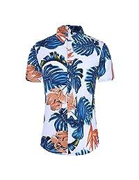Turn Down Collar Shirts for Men,Fashion Hawaii T-Shirt Slim Loose Short Sleeve Printed Tops