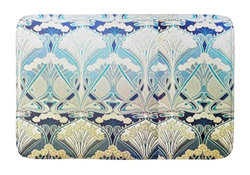 (Lovestand-Doormat Welcome Mat Indoor/Outdoor Bath Floor Rug Decor Art Print with Non Slip Backing 16X24 inch Art Nouveau Silver Green Beige Nature Colors Chic Bathroom)