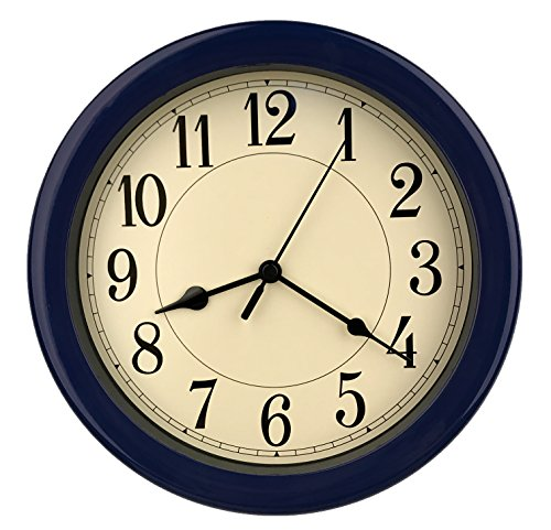 8.5 inch Simply High-end Beige Plastic Easy to Read Decorative Wall Clock, Water Resistant, Special for Small Space, Office, Boats, RV (W86028 Dark Blue)