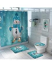 ARTIFUN 4 PCS Christmas Bathroom Decorations Set Toilet Seat Cover Rug Shower Curtain Sets Xmas Santa Claus Elk Snowman Bathroom Decor