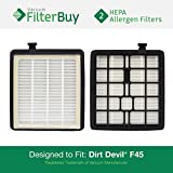 2 - Dirt Devil F45 (F-45) HEPA Replacement Filters, Part # 2KQ0107000. Designed by FilterBuy to fit Dirt Devil Vision Pet Canister Vac SD40000 & Dirt Devil EZ Lite Canister Vac SD40010