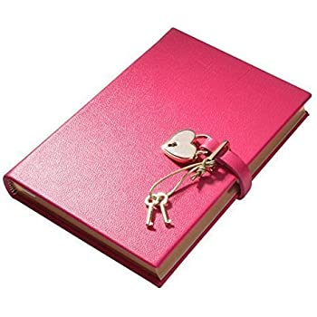 """Customized Leather Heart Lock Diary, Working Key and Lock, Pink, 8"""""""