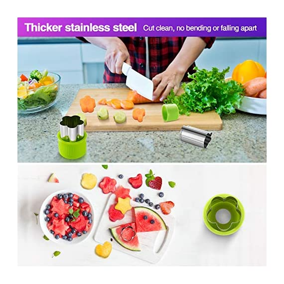 Gimars Large + Small Stainless Steel Cookie & Vegetable & Fruit Cutters Shapes Sets, Mini Cookie Stamp Mold, Sandwich Cutters for Kids Baking, Bento Box and Food Decoration Tools for Kitchen 5 ? 16 PCS 2 Size (8 large : 1.8 in x 2.1 in & 8 small : 1.2 in x 1.65 in.) ¡°One cookie to one kid¡± bite size deep shape mini cookie cutters for choices - The large cookie cutters are perfect to make bite size mini cookie,spritz cookies, decorations for cake, pie crust, gum paste work, craft projects, fondant cutouts,Pastry, mini-tart, etc. The small cookie cutters are great to cut shapes for kids lunch bento box, fruit and vegetable shapes,fruit platter, drinks garnishes etc ? Thicker non rusting stainless steel cookie cutters with fine welding seams to cut food clean without bending or falling apart - Thicker high quality package of food grade stainless steel and plastic silica gel material, not contain BPA. These kids mini cookie cutters are built to last for a long time and does not rust after cleaning. Sturdy and sharp to cut shapes clean with ease. These tiny cookie cutters shapes are very easy to use ? Thicker non rusting stainless steel cookie cutters with fine welding seams to cut food clean without bending or falling apart - Thicker high quality package of food grade stainless steel and plastic silica gel material, not contain BPA. These kids mini cookie cutters are built to last for a long time and does not rust after cleaning. Sturdy and sharp to cut shapes clean with ease. These tiny cookie cutters shapes are very easy to use
