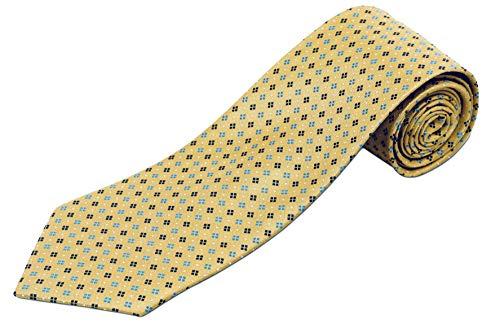 (100% Silk Extra Long Yellow Tie with Geometric)