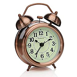 Peakeep 3 inches Small Twin Bell Alarm Clock with Backlight, Silent Non Ticking Quartz Movement, Battery Operated Loud Alarm Clocks for Heavy Sleepers (Red-Copper)