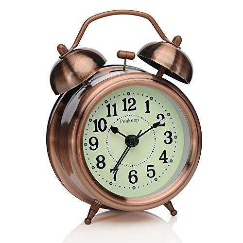 Peakeep 3 inches Small Twin Bell Alarm Clock with Backlight, Silent Non Ticking Quartz Movement, Battery Operated Loud Alarm Clocks for Heavy Sleepers (Red-Copper) (Fluorescent Alarm Clock)