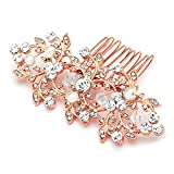 Mariell Vintage Crystal & Pearl Rose Gold Bridal Hair Comb for Weddings or Prom