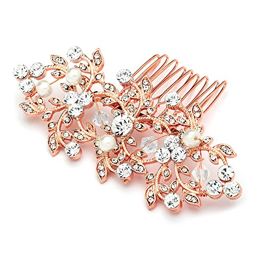 UPC 019372523987, Mariell Vintage Crystal & Pearl Rose Gold Bridal Hair Comb for Weddings or Prom