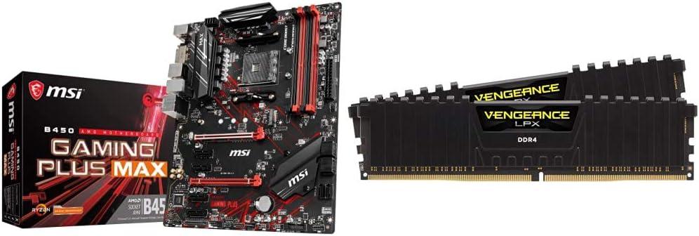 MSI Performance Gaming AMD Ryzen 2ND and 3rd Gen AM4 M.2 USB 3 Crossfire ATX Motherboard & Corsair Vengeance LPX 16GB (2x8GB) DDR4 DRAM 3200MHz C16 Desktop Memory Kit - Black (CMK16GX4M2B3200C16)