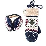 Women's & Men's Warm Cashmere Jacquard Knitted Pom Pom Beanie Hat, Neck Handing Gloves, Collapsible Earmuff (Earmuff & Mittens))
