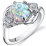 Created Opal Ring Sterling Silver 3 Stone 1.75 Carats Size 6