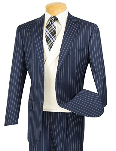 (VINCI Men's Gangster Pinstriped 3pc 2 Button Classic-Fit Suit w/White Double Breasted Vest Navy Blue | Size: 40 Short / 34 Waist)