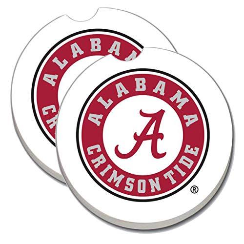 University of Alabama Crimson Tide Car Coasters - Sandstone Car Drink Coaster (set of 2 - Tide Natural Crimson Alabama
