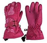 insulated athletic gloves - N'Ice Caps Kids Scroll Print Waterproof Thinsulate Insulated Winter Snow Gloves (Fuchsia/White, 5-6yrs)