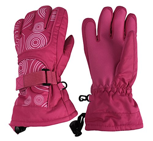 N'Ice Caps Kids Scroll Print Waterproof Thinsulate Insulated Winter Snow Gloves (Fuchsia/White, 5-6yrs) (Gloves Winter Girls)