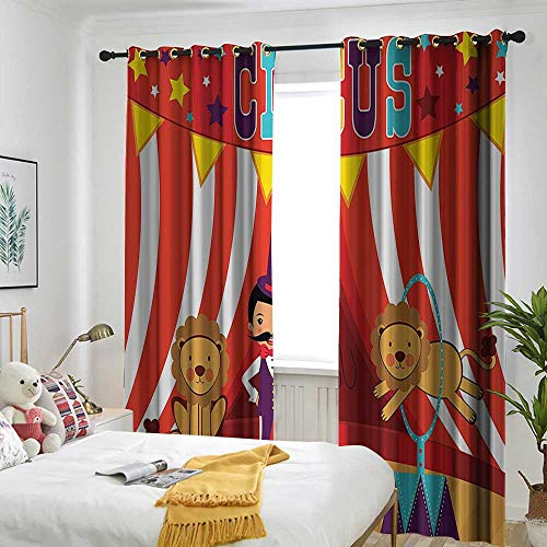 AndyTours Circus Decor Collection Grommet Window Curtain Tamer and Lion Circus Performance Amusing Celebrating Decorative Party Image Simple Stylish 72