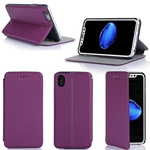 Apple iPhone X 4G/LTE Dual Sim 5.8 Zoll Tasche Leder Hülle lila Cover mit Stand - Zubehör Etui iPhoneX smartphone 2017 / 2018 Flip Case Schutzhülle (PU Leder, Handytasche violett purple) - XEPTIO acce