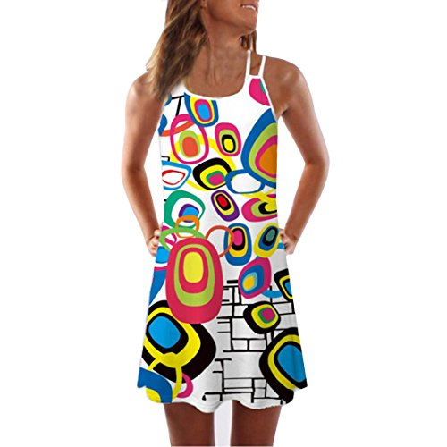 Women Loose Summer Vintage Sleeveless Dress 3D Floral Print Bohe Tank Short Mini Dresses ()