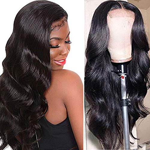 Ucrown Hair Lace Front Wigs Brazilian Body Wave Human Hair Wigs For Black Women 150% Density Pre Plucked with Baby Hair Natural Black (22'inch)
