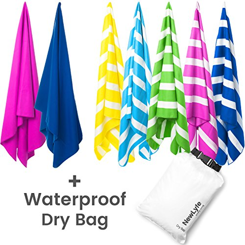 """Microfiber Beach Towel & FREE Waterproof Dry Bag - Best Travel Towel, Quick Dry, Lightweight, Compact, Long, Large 70x31"""", Sand Proof, Soft, Absorbent, perfect for Swim, Pool, Camping, Beach (Swim Dock)"""