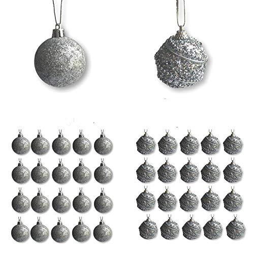 BANBERRY DESIGNS Christmas Silver Ball Ornaments - 40 Silver Assorted Finish Xmas Ornaments - 2