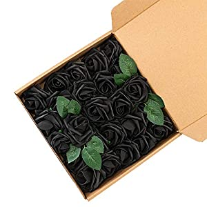 UNISS Artificial Flowers Fake Roses with Stem and Leaf for Wedding Home Decorations (Black) 25
