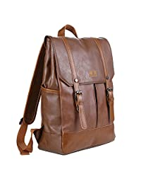 Koolertron Classic Casual Synthetic Leather Vintage Fashion School College Book Bag Daypack Laptop Backpack For Camping Travel