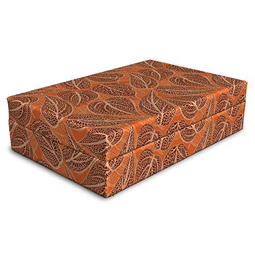 Tangerine Almond - Lunarable Floral Pet Bed, Big High Detail Leaves in Tangerine Earth Tones Tree Branch, Animal Mat Foam and Stylish Printed Cover, 24