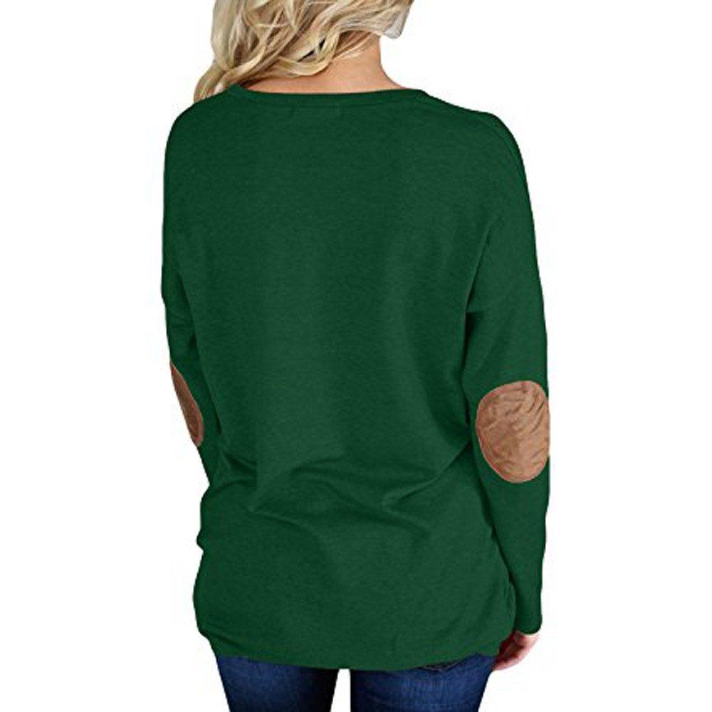 Mujer camiseta elegante Otoño,Sonnena ❤ Las mujeres sueltan camisas de manga larga cómodas Camiseta sin mangas con estampado sólido de Patchwork blusas ...