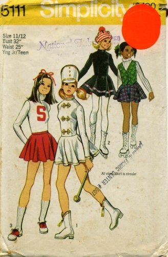 1970s Simplicity Pattern 5111 ~ Girls' and Young Junior/Teens' Cheerleader, Majorette and Skating Costumes ~ Size 11/12