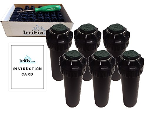 Nozzle Tree - Rain Bird 5000 Plus Series Flow Shut-Off Sprinkler Heads Bundle: 6 Pack 5004PLPC Rotors with IrriFix Nozzle Box and Instruction Card - Including 6 Nozzle Trees and 1 Rotortool Screwdriver