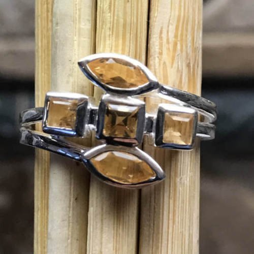 (Genuine 2ct Golden Citrine 925 Solid Sterling Silver 5-Stone Stackable Ring sz 6, 7, 8, 9)