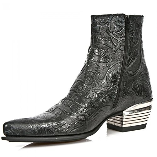 New Rock Boots M.nw131-s1 Ankle Boots Da Uomo Urban Cowboy Nero