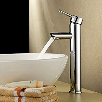 Zingcord Single Handle Contemporary Bathroom Lavatory Vanity Vessel Sink  Faucet Chrome Tall Spout Deck Mount Bathtub
