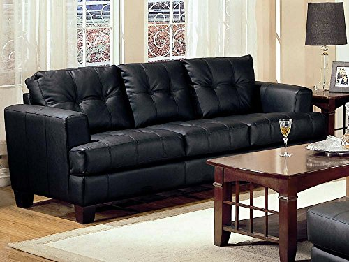 Coaster Home Furnishings  Samuel Modern Contemporary Track Arm Tufted Upholstered Stationary Three Seater Sofa - Black Faux Leather (Sofa Black Samuel)