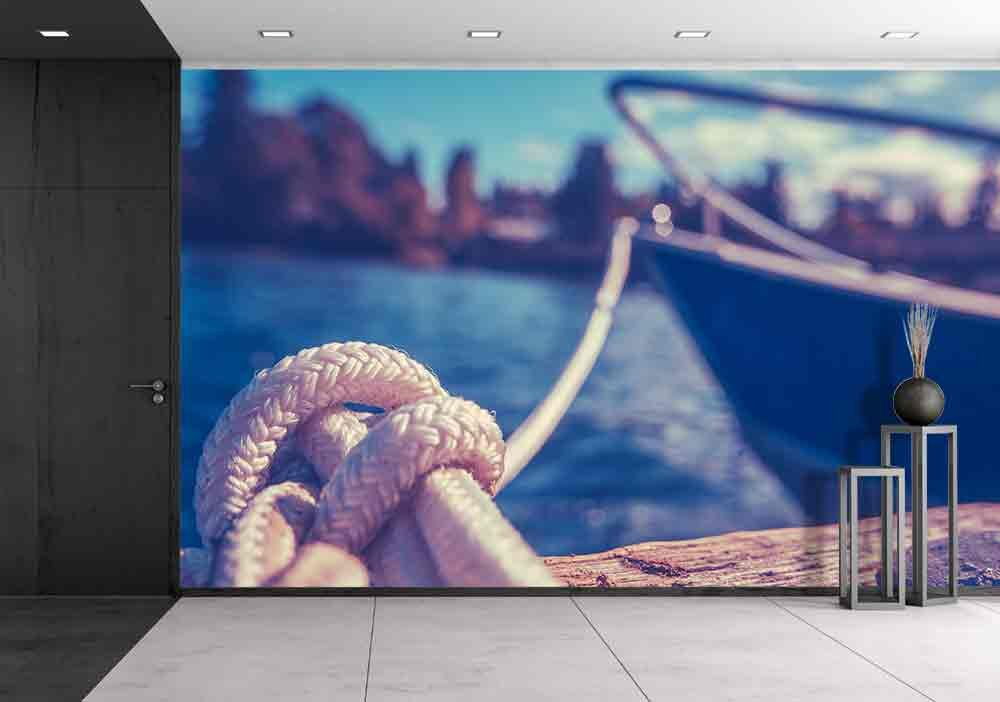wall26 - Retro Filtered Photo of a Luxury Yacht Tied to Pier - Removable Wall Mural | Self-adhesive Large Wallpaper - 66x96 inches