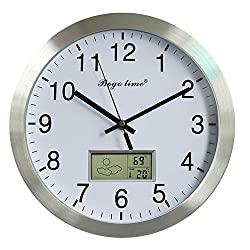 Silent Non-ticking Aluminum Wall Clock with Weather Forecast, Indoor Temperature, Humidity, Home Office Decor (12 Inches/Silver)