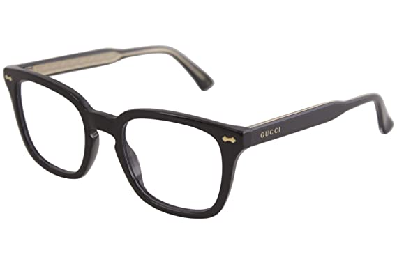 6ce54dff88c Amazon.com  Gucci GG 0184O 001 Black Plastic Square Eyeglasses 50mm ...