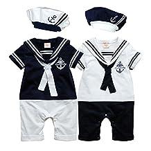Newborn Baby Boy Girls Sailor Romper Outfit with Hat 2 Pieces Costume Onesie