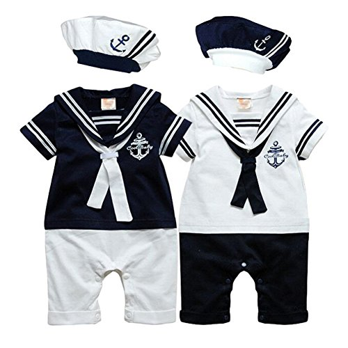 Navy Blue Sailor Costumes (Newborn Baby Boy Girls Sailor Romper Outfit with Hat 2 Pieces Costume Onesie)