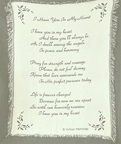 Sympathy Poem Gift Blanket Cotton Made In USA Tapestry Throw To Express Sympathy For Funeral Or Memorial Comfort The Grieving For Loss Of A Loved One