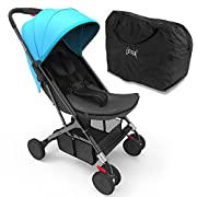 Jovial Portable Folding Baby Stroller – Lightweight, Compact & Foldable for Travel – Includes Storage Bag Cover, Under Basket, Adjustable Seat, Harness Straps & Protective Canopy (Blue)