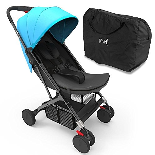 Jovial Portable Folding Baby Stroller  Lightweight, Compact & Foldable for Travel  Includes Storage Bag Cover, Under Basket, Adjustable Seat, Harness Straps & Protective Canopy ( Blue )