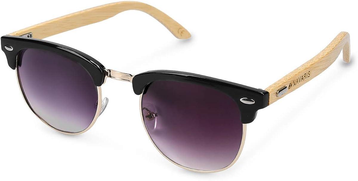 Navaris Gafas de sol de madera - Lentes con protección UV400 - Diseño retro unisex - Gafas de bambú con funda - Con marco negro y vidrios azul oscuro