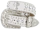 Rhinestone Cross Jeweled Studded Western Cowgirl Belt Black, White (Small, White)