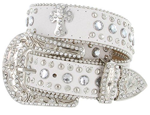 eled Studded Western Cowgirl Belt Black, White (Medium, White) (Womens Western Rhinestone Belt Studs)