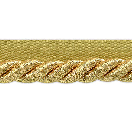 3/8 Lip Cord Trim Twisted (Nicholas 3/8in Twisted Lip Cord Trim Metallic Gold)